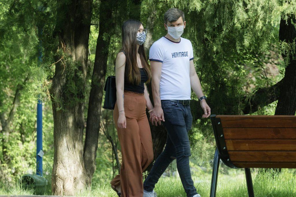 urban millennials in masks