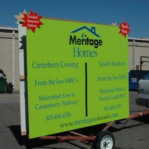 home builder trailer sign
